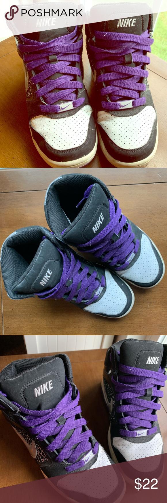 Nike High Tops Black, silver, \u0026 white