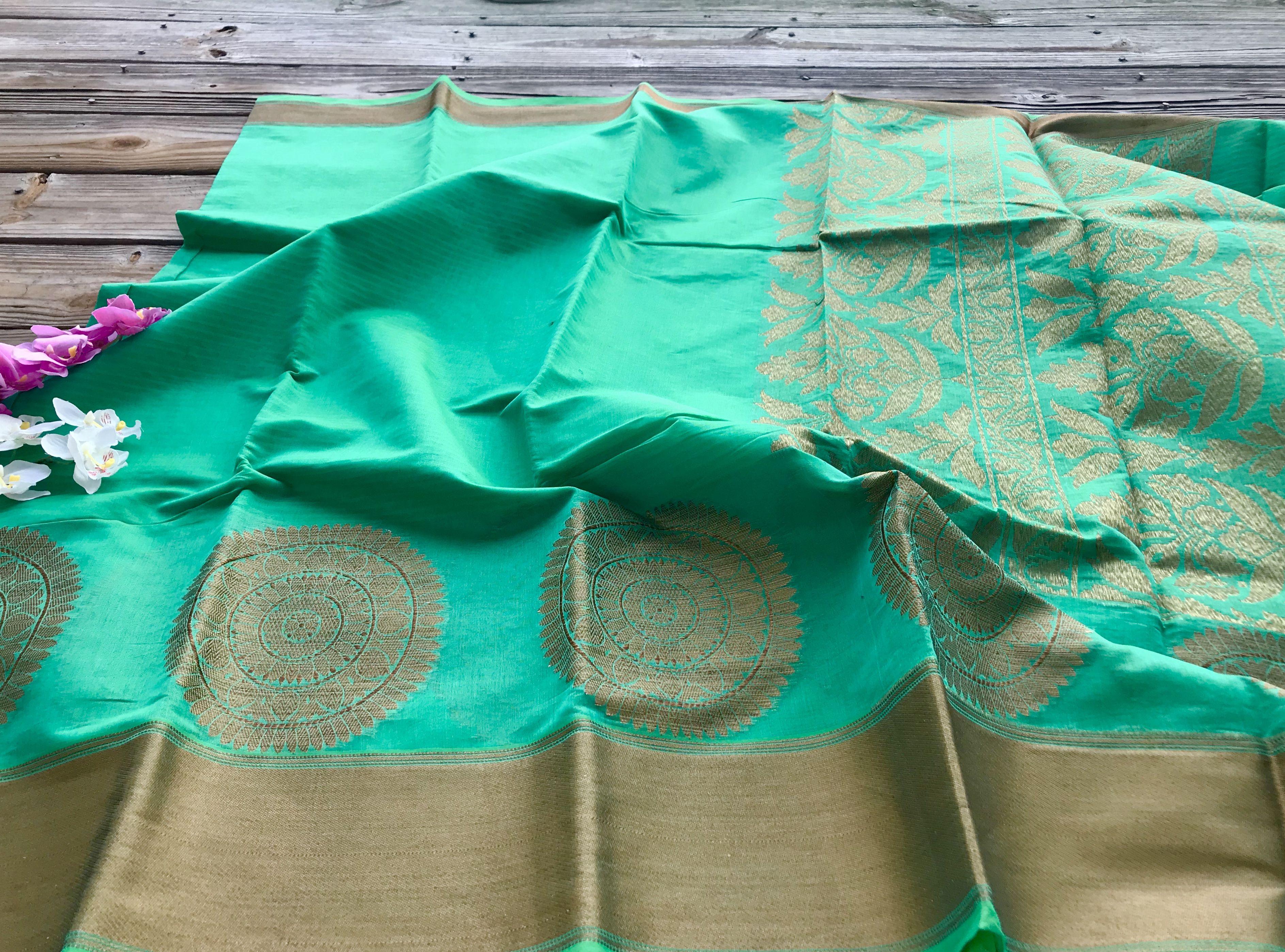 Pure Cotton Banarasi Saree in Sea Green and Gold