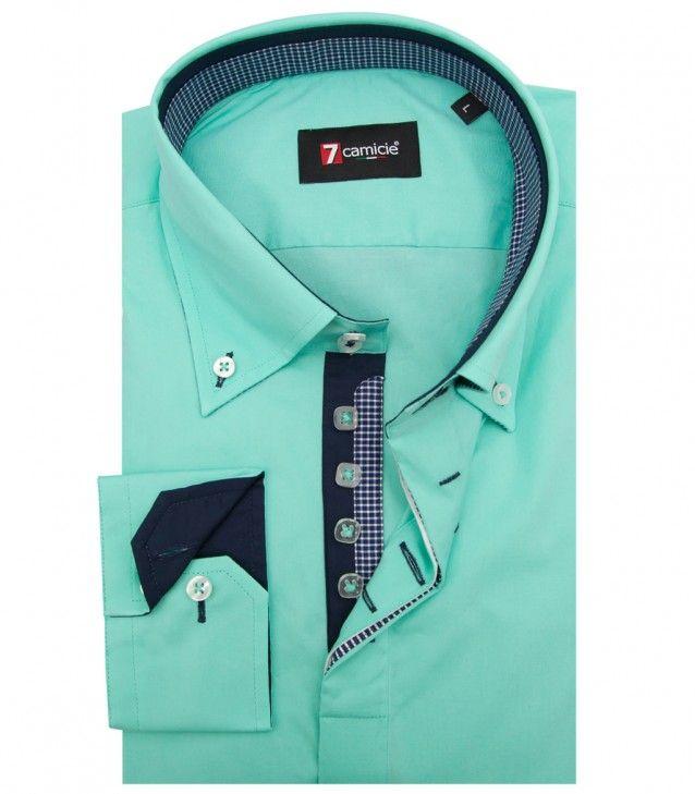 a22b7a18c4 Camisas Roma Popelín stetch Verde Agua