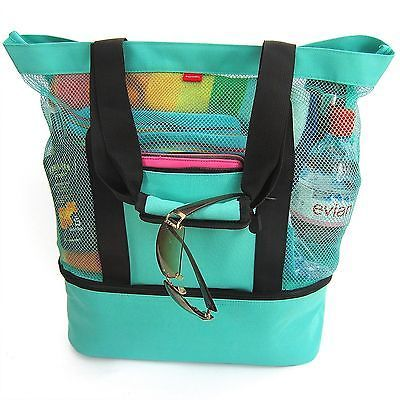 Aruba Mesh Beach Tote Bag, Zipper top, Insulated Cooler & waterproof cell case #zippertop