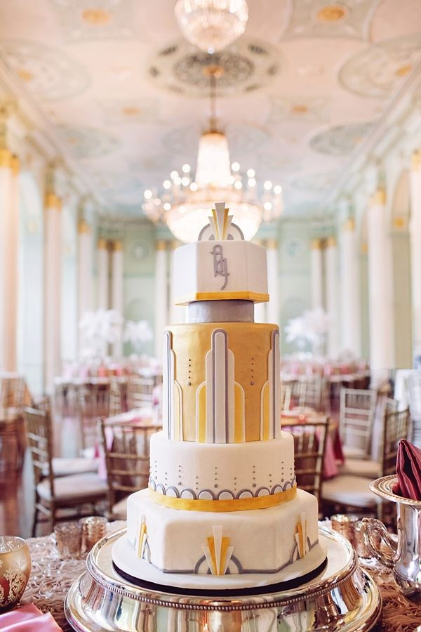 1920s Art Deco Themed Wedding in Atlanta at the Biltmore Ballrooms - Munaluchi Bridal Magazine photographer:http://www.projectduo.com/ #thecake #wedding #reception