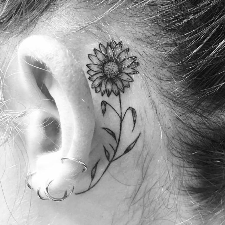 Rocking Sunflower Tattoo Behind The Ear Sunflower Tattoo Tattoos Sunflower Tattoos