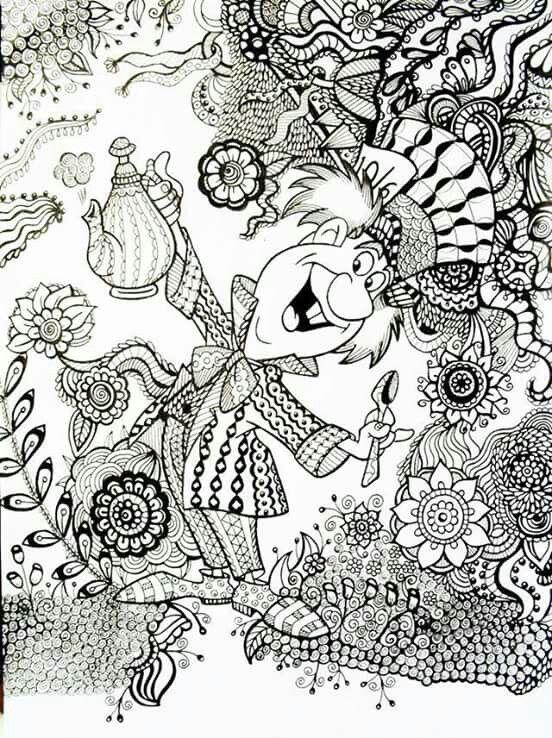 Mad Hatter Zen Tangle Coloring Page Disneys Alice In Wonderland