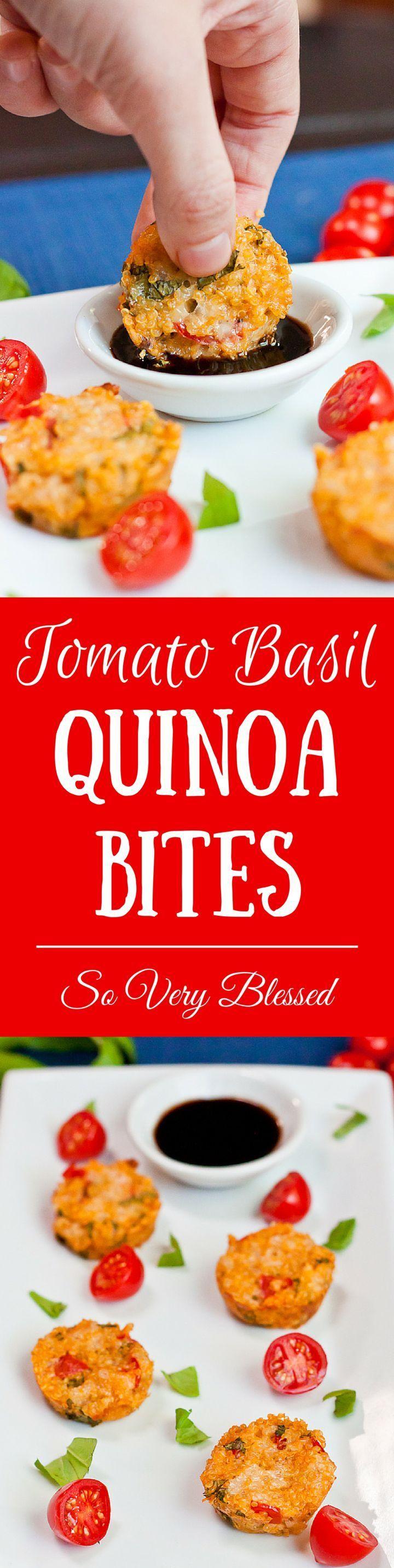 Tomato Basil Quinoa Bites Recipe With the basil, tomatoes, and mozzarella, these are like tiny litt