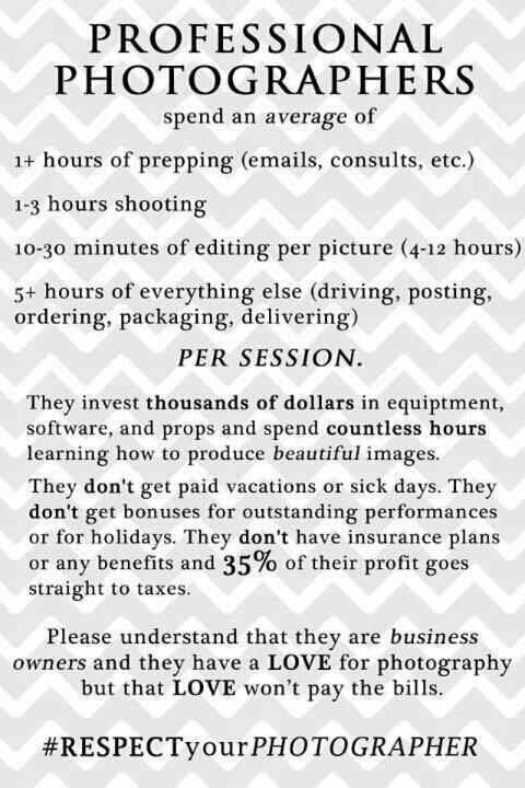 if someone asks you to photograph for less or free :)
