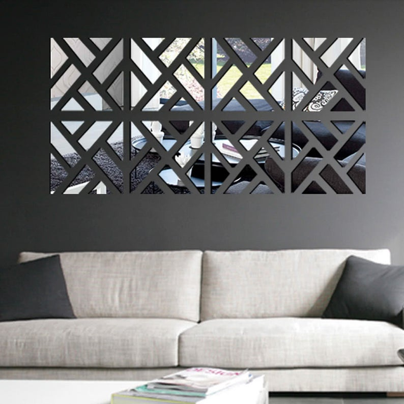 Details about  /1 Set Mirror Tile Wall Stickers Decal Home Living Room Decor Durable Hot Sale