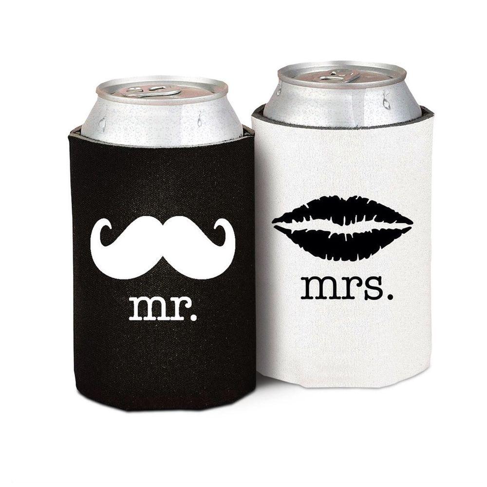 Mr Mrs Drink Can Holder Moustache Lips Wedding Stubby Stubbie Beer ...