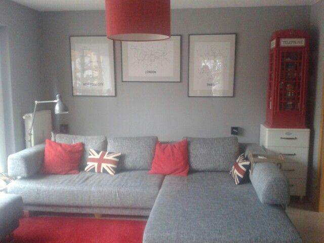 Grau-rotes Wohnzimmer Grey and red living room Touch of uk/britain - wohnzimmer grau magenta