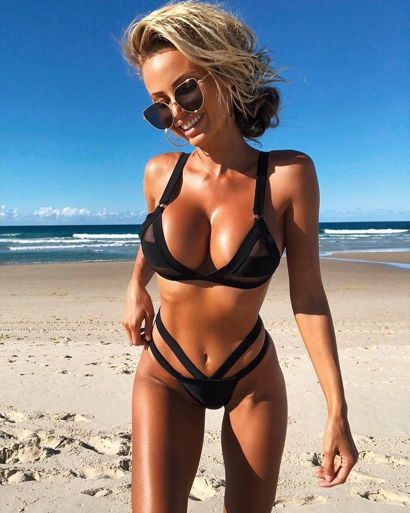 Ultra Mesh Strappy Bikini Vintage Bikini Bikinis Black Swimsuit