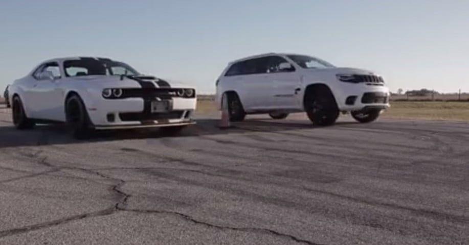Dodge Challenger Srt Hellcat Vs Jeep Grand Cherokee Trackhawk