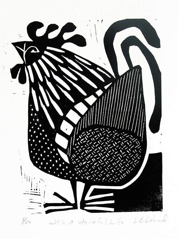 Rooster linocut its a wonderful life black and white