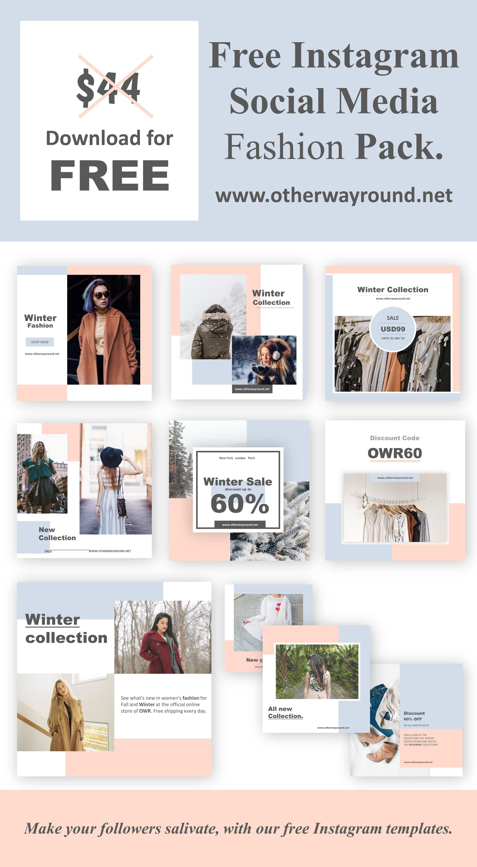 Free Instagram Social Media Fashion Pack Free Instagram Instagram Template Free Instagram Feed Planner