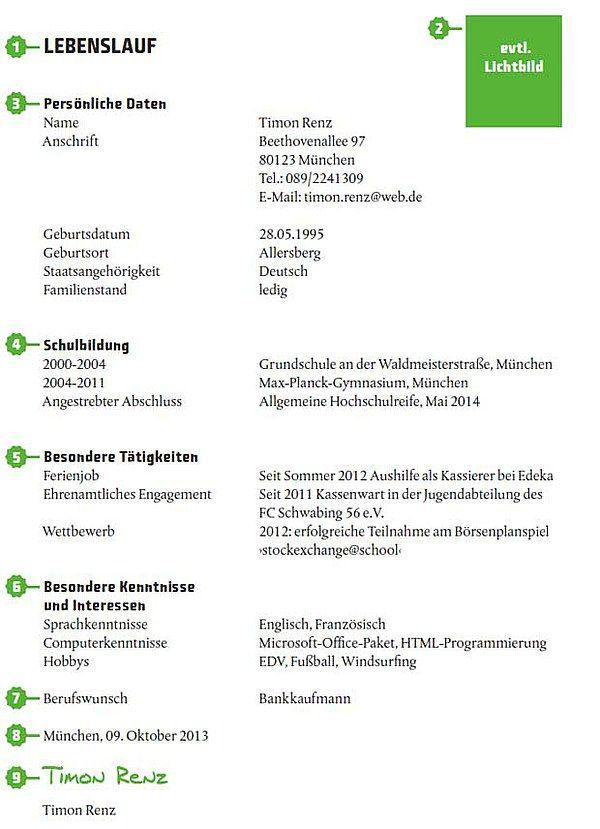 Muster: Lebenslauf für Abiturienten | Praktikum etc. | Pinterest