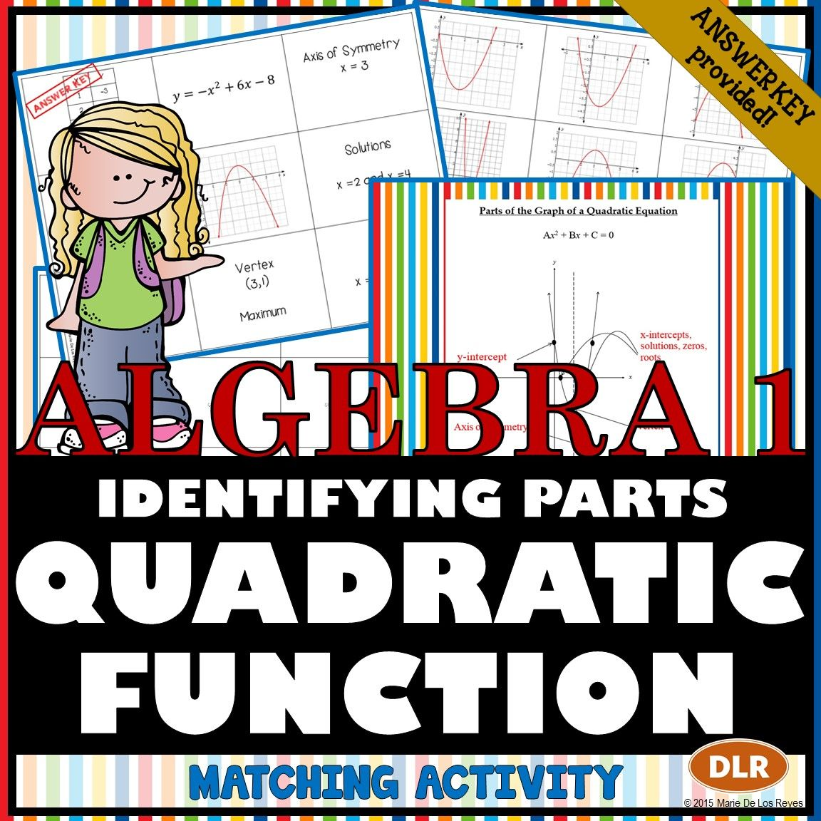 Identifying The Parts Of The Quadratic Equation Matching Activity
