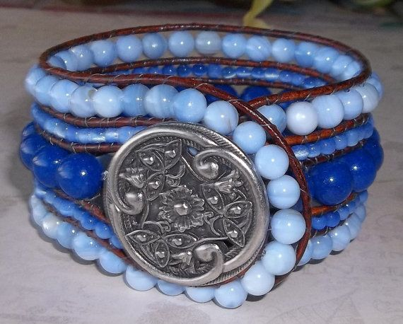 Check out this item in my Etsy shop https://www.etsy.com/listing/259221371/blue-beaded-leather-cuff-bracelet