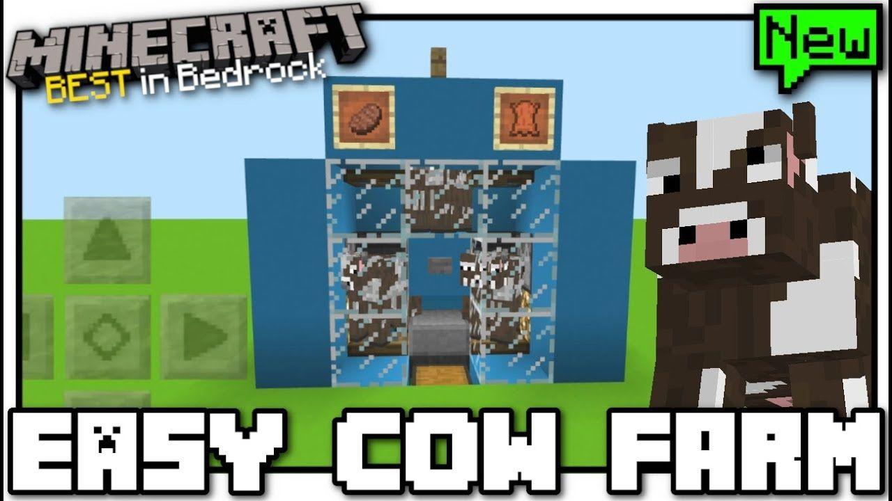 Minecraft Easy Cow Farm Redstone Tutorial Mcpe Bedrock Xbox Minecraft Redstone Creations Minecraft Farm Minecraft
