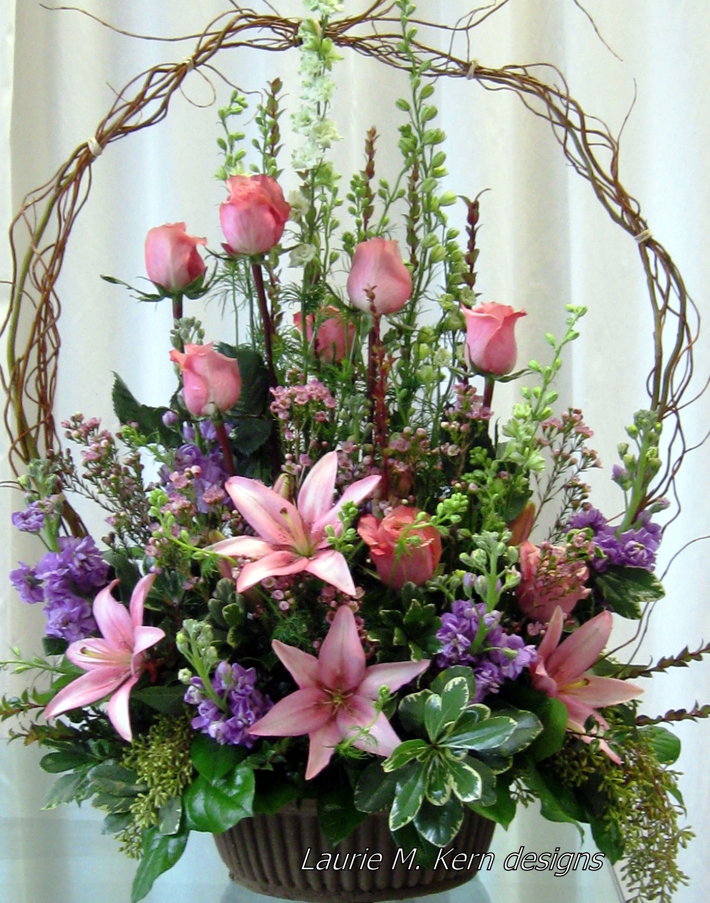 Basket Flower Decoration Willow Basket Filled With Pink Lilies Pink Rose Buds Assorted
