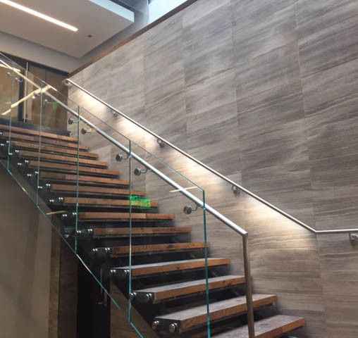 Modern Interior Staircase Materials Photo: Interior Floating Staircase With Glass Railing Wood Tread
