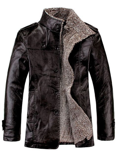 fa25dae85fa Stand Collar Flocking Single Breasted PU-Leather Jacket | art ...