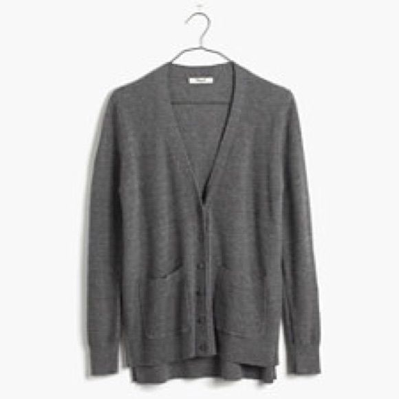 Madewell Spring-Weight Cardigan Sweater in Gray Maybe wore this ...