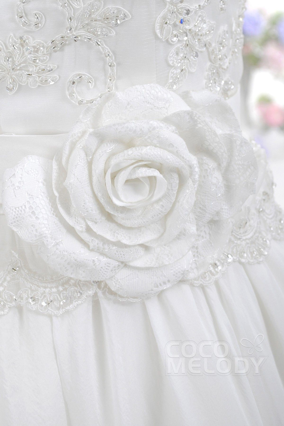 Pretty A-Line Jewel Natural Knee Length Organza Zipper With Button Wedding Dress with Beading and Flower COXK14001