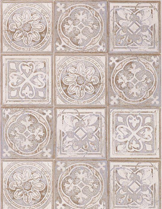Papier peint VICTORIA Vinyle sur Intissé motif trompe lu0027oeil, Galet