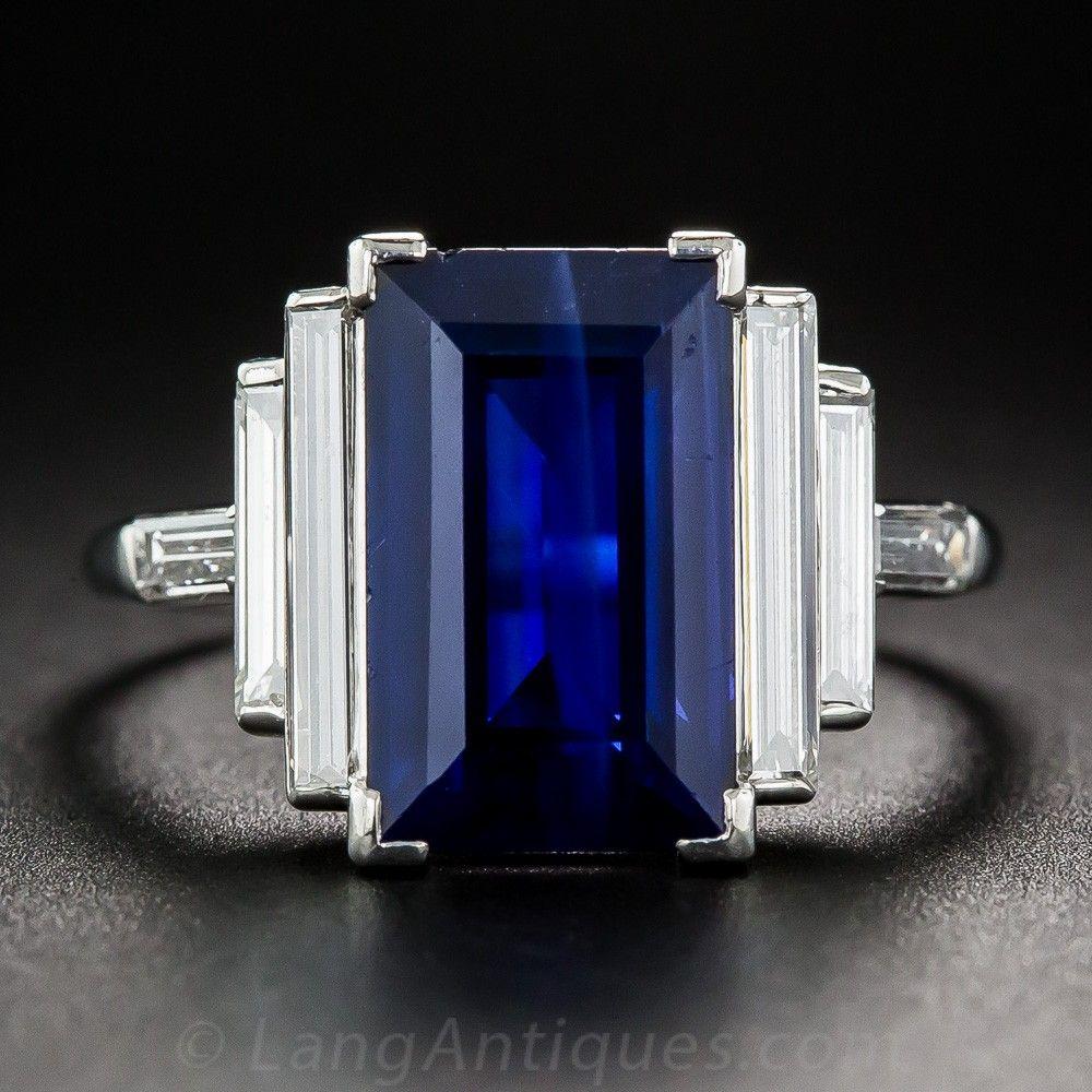 Natural 500 Carat Emeraldcut Sapphire And Long Baguette Diamond Ring