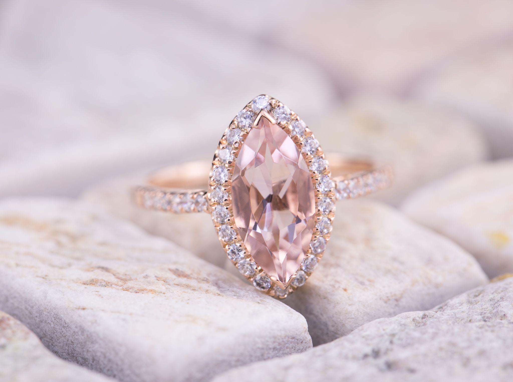 Magnifique morganite rose 18K Gold Filled Wedding Bridal Ring Bijoux Sz6-10 nouveau