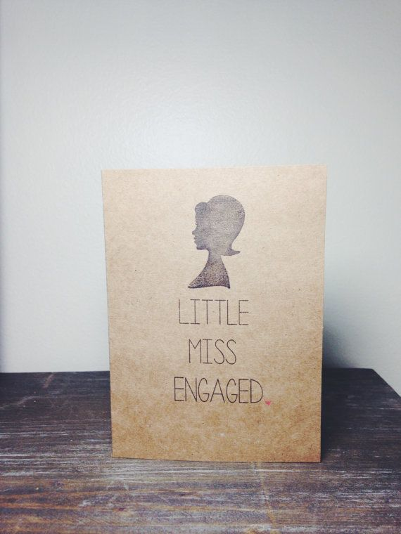 Engagement Card - Little Miss Engaged - Congratulations - Just Engaged - Bride To Be Card