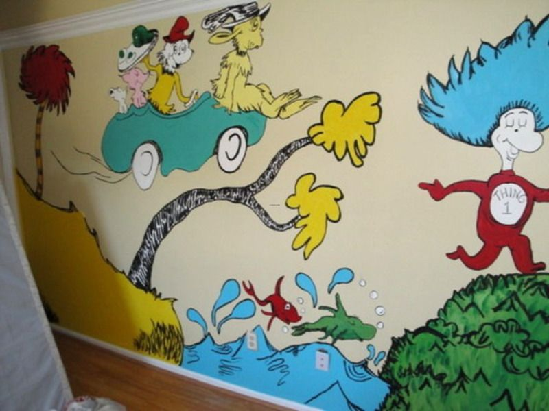 Dr Seuss Wall Decor kids murals doneprofessional artist | wall mural kids, wall