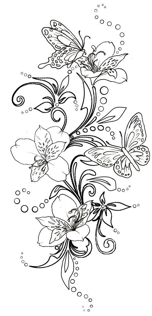 Line Drawing Butterfly Tattoo : Fleur papillon flower butterfly coloriage coloring