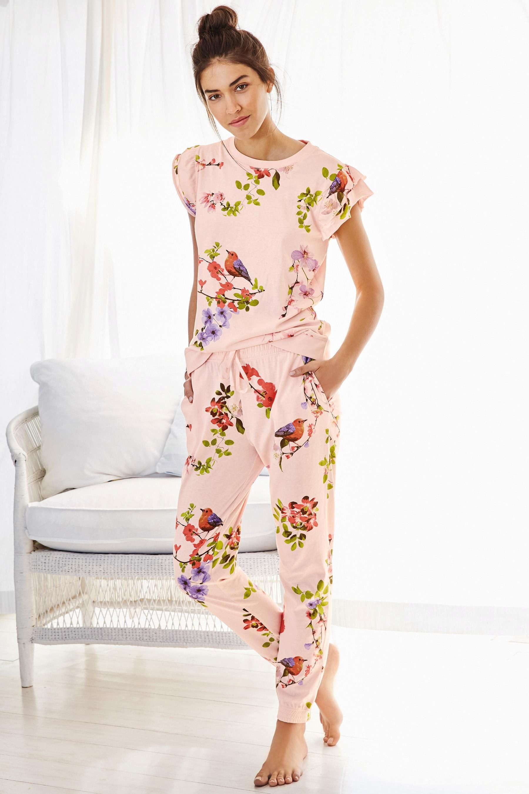 Buy Pink Floral Jersey Ruffle Pyjamas from the Next UK online shop ... 5d3b85ae5