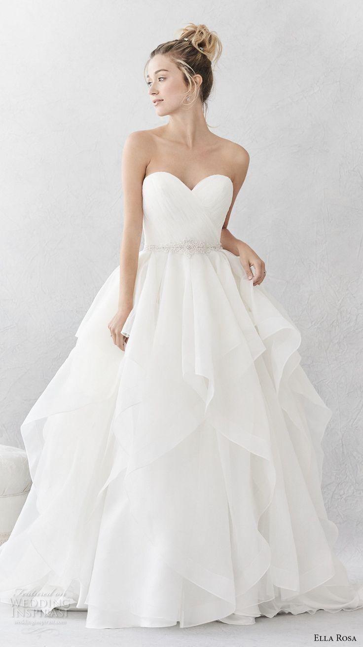 Strapless ball gown wedding dresses  Ella Rosa spring  bridal strapless sweetheart neckline wrap over
