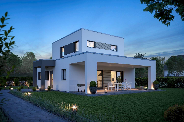 Aktionshaus comfort mit staffelgeschoss fertighaus for Haus bauen flachdach