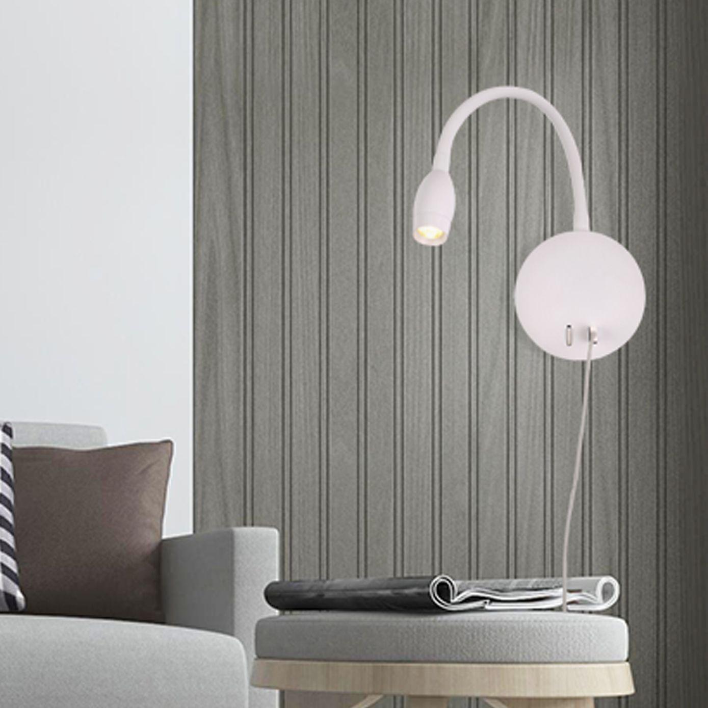 hotel design bedside wall reading lamp with USB outlet 5V