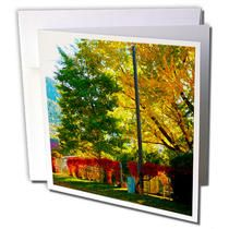 3dRose - Jos Fauxtographee Fall - A beautiful yard in Pine Valley, Utah with red vines growing on fence - Greeting Cards
