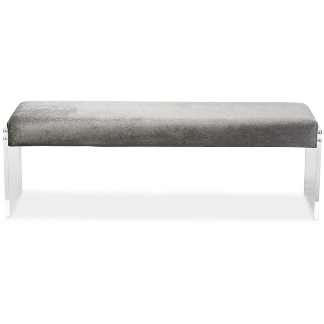 Baxton Studio Hildon Modern And Contemporary Grey Microsuede Fabric Upholstered Lux Bench With Paneled Acrylic Legs Acrylic Legs Baxton Microsuede