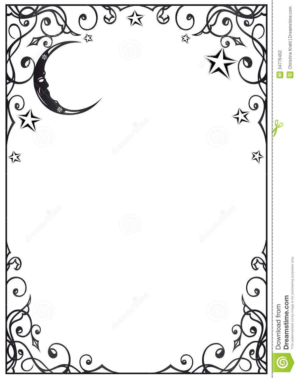 Moon stars filigree frame 1027 1300 Coloring book of shadows