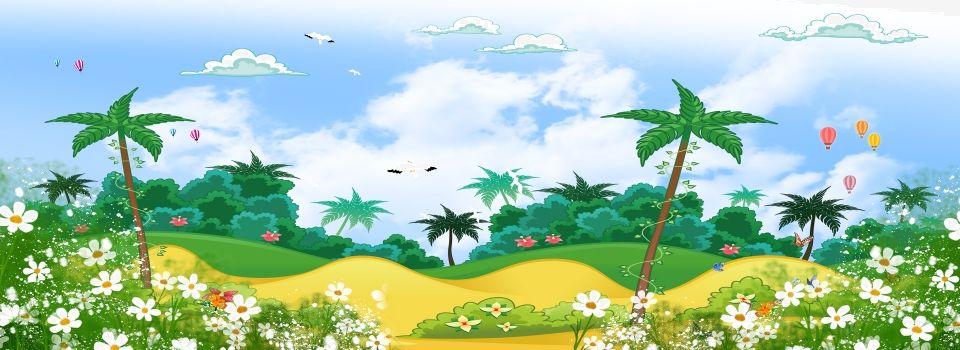 Cartoon Wind Landscape Banner Illustration Graphic Design Background Templates Landscape Illustration Background Images