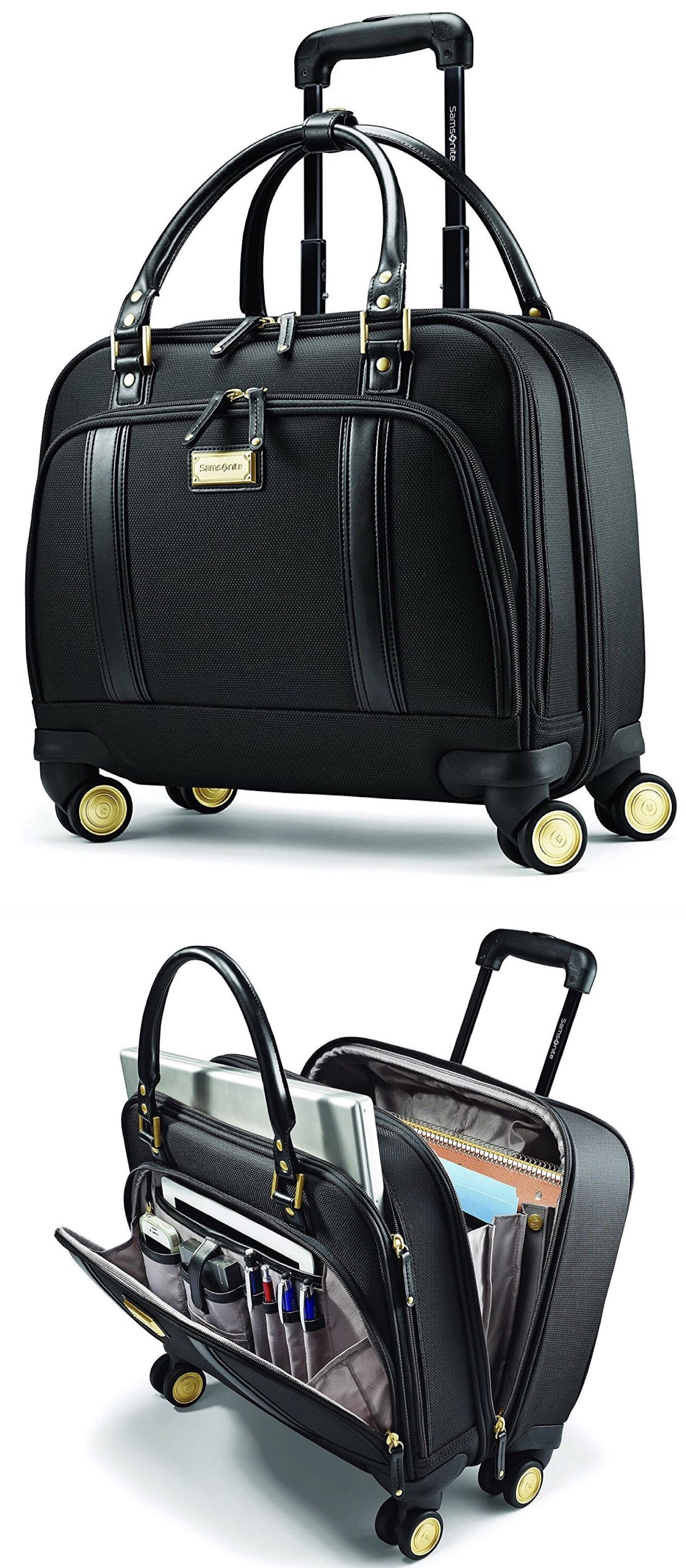 Now Samsonite Women S Spinner Mobile Office Hand Luggage Carryon Travel Work Laptop Bag Organization Cute Best Stylish Away Black Suitcase