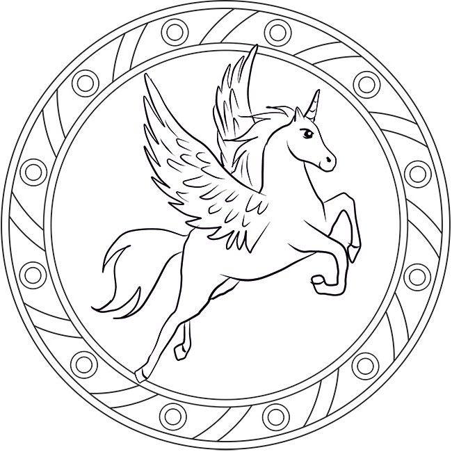 Mandala Pegasus Ausmalbild Unicorn Coloring Pages Mandala Coloring Pages Mandala Coloring