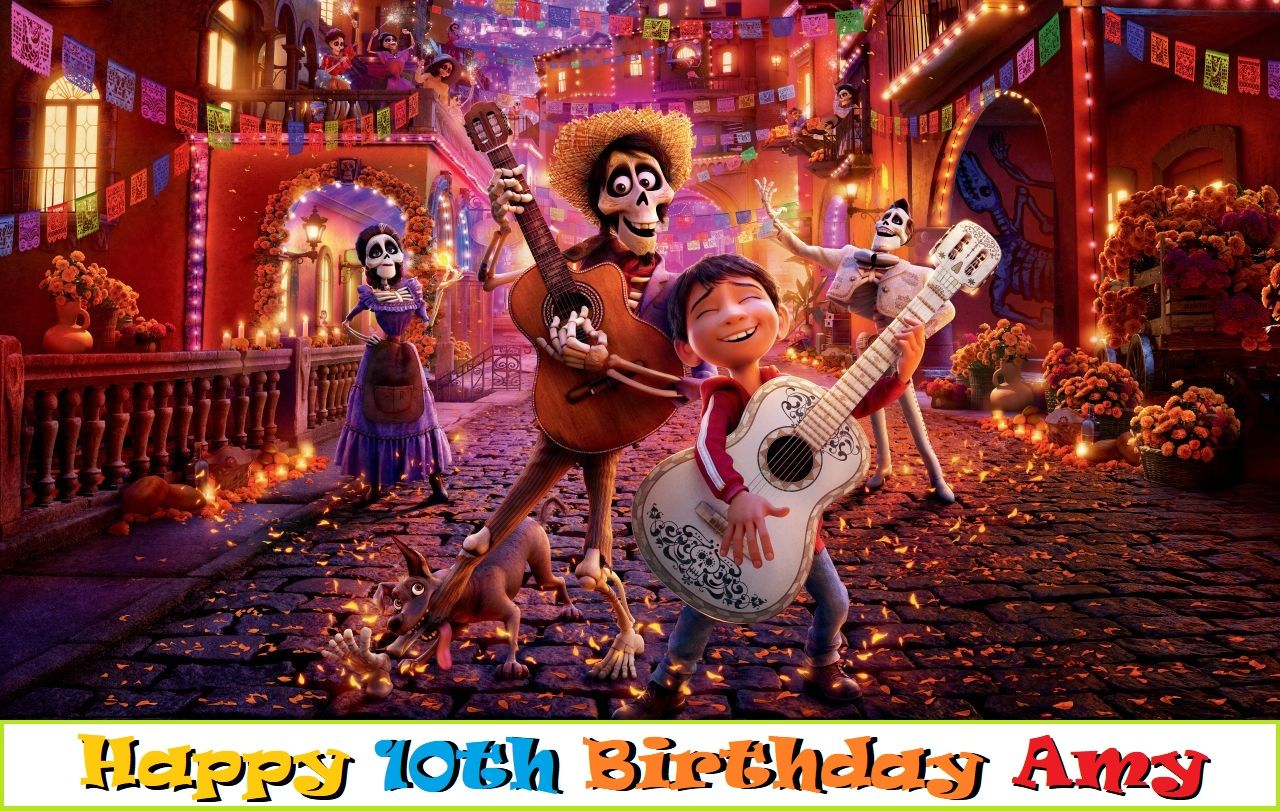Coco Edible Cake Topper Available: Coco edible cake topper  You can have your own image or choose a favorite character picture as your cake topper. *Cake not included