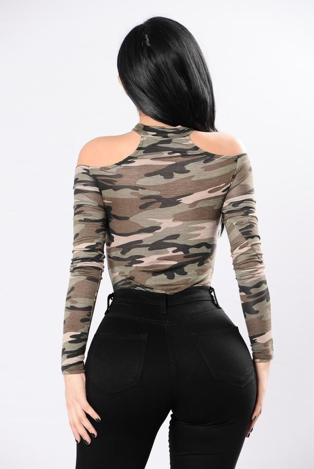 da917391e8 Available in Camo - Off Shoulder Bodysuit - Long Sleeve - Attached Choker -  Cheeky