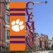 """Clemson Tigers 28"""" x 44"""" Orange-Purple Cut-Out Applique Banner Flag"""