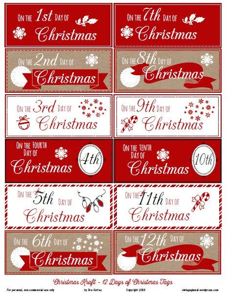 12 Days Of Christmas Gift Tags Free Printable Christmas Gift Tags Free Christmas Tags Printable Free Printable Christmas Gift Tags
