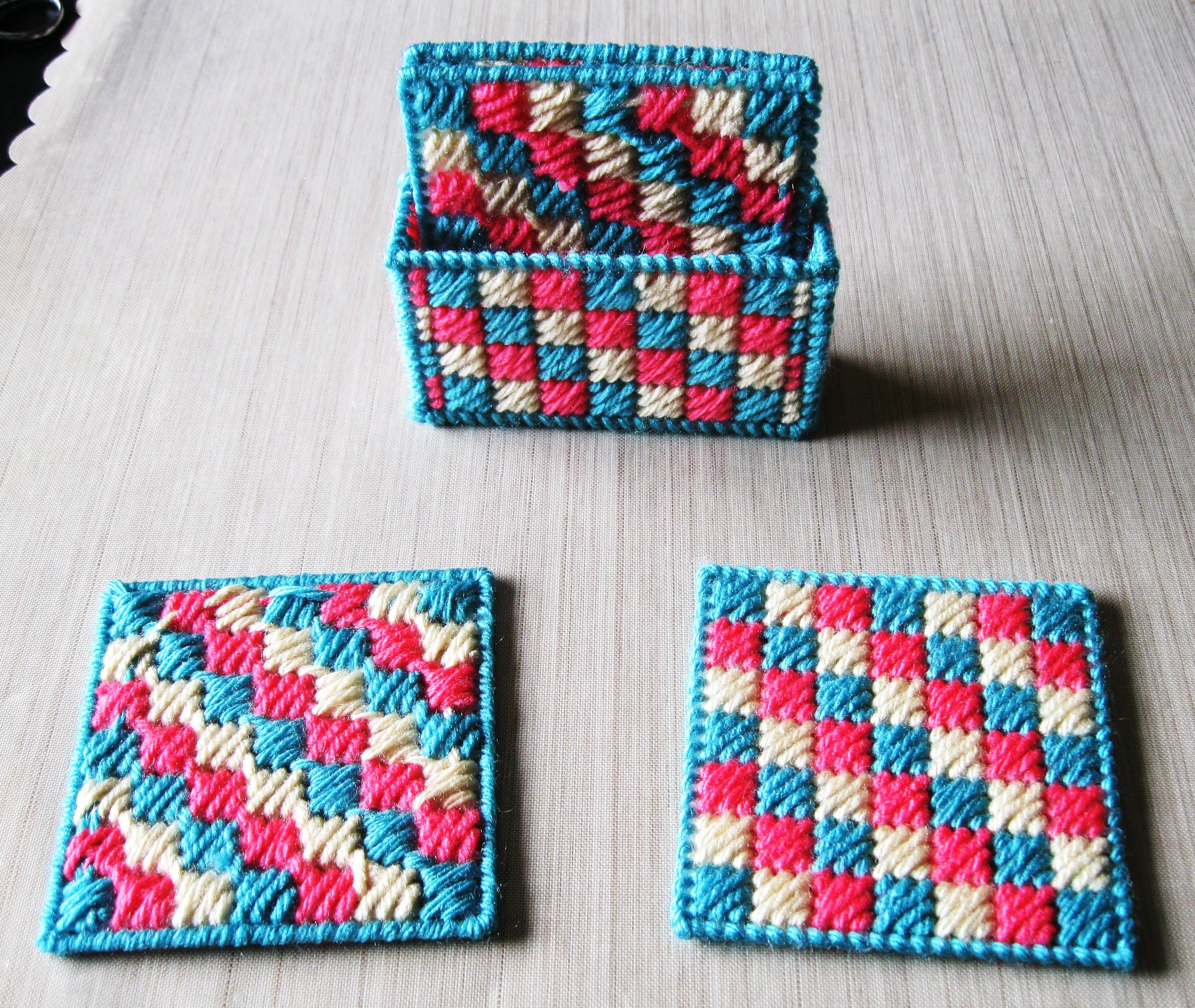 Patchwork Coasters & Holder Set