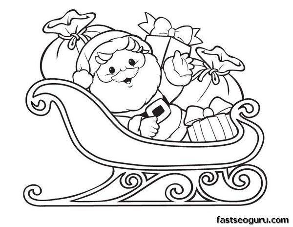 santa sleigh coloring page # 5