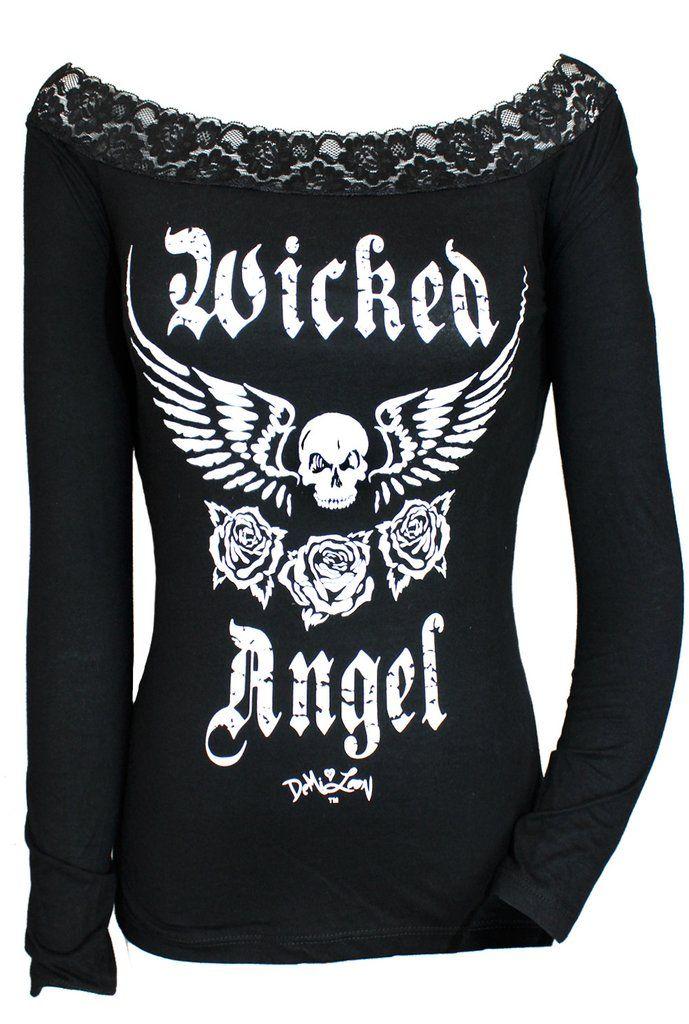 Wicked Angel Off Shoulder Skull Tee