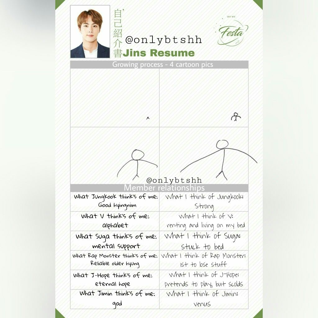 eng trans jin s resume part 3 5 2017 bts festa day 11 not