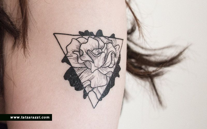 Floral Triangle Temporary Tattoo Flowers Rose Nature Black ...